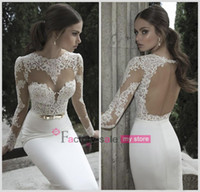 Wholesale 2016 Vestido De Noiva Berta Bridal Mermaid Wedding Dresses High Neck Long Sleeves Sheer Lace Backless Bridal Gowns Under CPS213