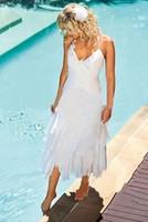 tea length wedding dress - Short Bohemian Beach Wedding Dresses With Halter Neck Tea Length Cheap Under Summer Boho Style White Chiffon Bridal Gowns