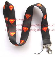 animations mobile - Cartoon Animation black Superman Mobile Phone lanyard Key chain straps charms