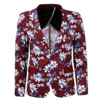Wholesale Mens Floral Blazer Jacket Single Button Long Sleeve Fashion Men Brand clothing Slim Fit Blazer