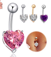 bare bellies - Body Jewelry Navel Ring Belly Button Ring Real Gold Plated Love Heart Belly Dance bare midriff Club Charm Accessory colors