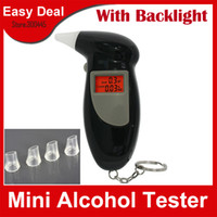 Wholesale LCD Digital Alcohol Tester With Key Chain Red LED Backlight Alcohol Breath Analyze Tester