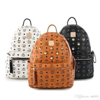 leather design bag - Designer Bags mc Backpack Style Bags Rivets Design Zipper Bags Soft PU Leather Girls Outdoor Travelling Bags mc Logo whb109