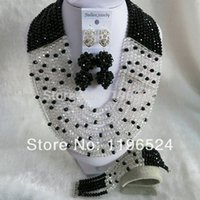 Wholesale Luxury Crystal Necklaces Bracelet Earrings African Nigerian Wedding Beads Jewelry Set A