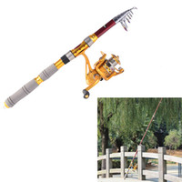 Wholesale 2014 Carbon Fiber M FT Portable Telescope Fishing Rod Travel Spinning Fishing Pole BB Sea Fishing Spinning Reel