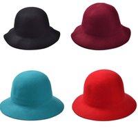 Wholesale Fashion Women Soft Floppy Wide Brim Cloche Fedora Dress Hat Retro Goth Wool Colors Choose