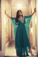 awesome prom dress - Awesome Evening Dresses with Half Sleeves Green Chiffon Beaded Prom Party Gowns Middle Eastern Arabic Women Formal Fashion Wear Clothes