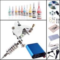 Cheap Beginner Tattoo Kit Machines Gun 10 Color Inks Pigment Power Supply DIY-421