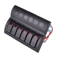 Wholesale 6 GANG WATERPROOF MARINE BOAT CARAVAN Red LED ROCKER SWITCH PANEL AUTO FUSES