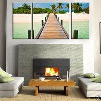 art dock - Original US high tech HD Print Landscape Oil Painting Wall Decor Art on Canvas No frame tropical dock PC