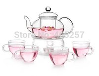 tea cups - ml heat resistant glass tea sets glass tea pot with infuser and four glass tea cup sets
