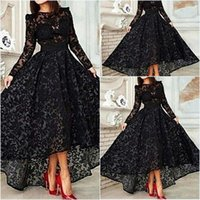 Cheap Vestido 2015 Black Long Sleeves Evening Dresses A Line Lace High Low Prom Dresses Special Occasion Evening Gown Arabic Dresses