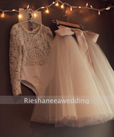 girls leotard - Alencon Lace Leotard and Champagne Ivory Tulle Skirt Long Sleeve Flower Girl Dress Pageant Dresses Girls Dresses for Weddings