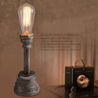american water works - LOFT American Industry Vintage Personality Creative Wrought Iron Water Pipe Bar Cafe Table Lamp Bedroom Bedside Desk Lamp