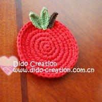 apple coaster - DD03039 Handmade Crochet Cotton Round Red Apple Coaster Doily