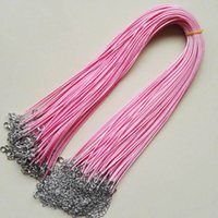 Wholesale mm pink Wax Leather Cord Necklace Rope cm Chain Lobster Clasp DIY Jewelry Accessories Fast Ship