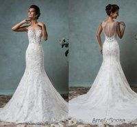 Cheap Amelia Sposa 2016 New Full Lace Wedding Dresses Sheer Neck Illusion Bodice Mermaid Trumpet Cheap Wedding Dresses Vestido De Noiva