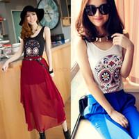 high quality clothes - 2015 New High Quality Summer Women Tops Flower Skull Head Print Women Clothes Women T Shirt