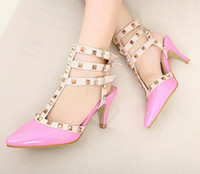 Wholesale New patent leather rivet shoes women pumps cm kitten heel pointed toe shoes Size to