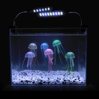 aquarium silicon ornaments - 5pcs Soft Colorful Silicon Fluorescent Floating Glowing Jellyfish Effect Fish Tank Decoration Aquarium Artificial Jelly fish Ornament