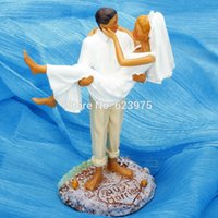 Wholesale Beach Themed Wedding Cake Topper Just Married Cake Topper Suntanned Couple