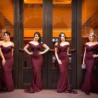 Wholesale 2016 Sexy Cheap Burgundy Bridesmaid Dresses Mermaid Lace Vestido Longo Maid of Honor Bridesmaids Dresses Plus Size Arabic Evening Dresses