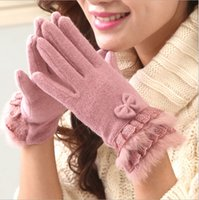 rabbits for sale - Hot Sale New Winter Gloves Women Thicken Rabbit Fur Winter Gloves Five Fingers Cute Bow Lace Wool Cashmere Warm Gloves for women