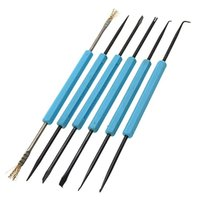 aids needle - 6 pack Double sided Soldering Aid Repair Tools fork reamer chip hold brash needle Set For PCB Repairing Rework