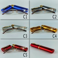 Wholesale Hot Sale Metal Glasses Reading With Pen Clic Reading Glasses Tube Reading Glasses Frame Women Men Reading Glasses