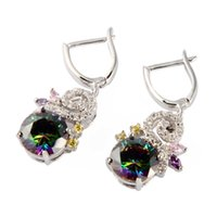 best reviews - Best Sellers Recommend Classic Fashion Rainbow Cubic Zirconia Silver Plated Earrings R709G Rave reviews First class products