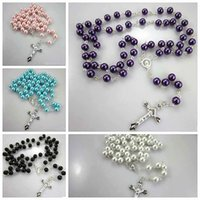 acrylic cross necklace - 2015 Fashion Pearl Rosary Necklace Pendant Christian Long Cross Necklaces Pendants Women Girls Jewelry