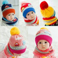 Wholesale New Cute Baby Girl Boy Knitted Hat Scarf Set Cartoon Car Pattern Fleece Warm Cap Neck Warmer Two Piece Set Hat and Scarf Set GA0137