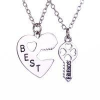 best sister necklace - set Two Parts Heart Key Best Friends Necklace Unique Simple Elegant Girl Boy Sisters Brothers Friendship Pendant Necklace