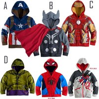 Wholesale Children s Cartoon style vengeance Alliance coat Baby Boy s avengers Cosplay Coat Kids Iron man thor hulk Casual jackets baby hoodies T