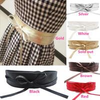 Wholesale Hot sales Women Lady Belts Waist Band Self Tie Wrap PU Leather Wide Bowknot Fashion IX232