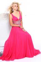 apple wait - Deep V Neck Empire Beaded Wait Long Chiffon Prom Dress Custom Made Available In Any Size Color