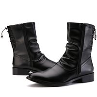 Wholesale Western Stylish Motorcycle Ankle Boots Equestrian Shoes Men Pleated Leather With Ribbon Lace Tied At Back Zip Open Spring Autumn Trendy New