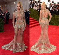 naked 2 - 2015 Met Gala Naked Celebrity Dresses Backless Long Sleeve Mermaid Sheer Sexy Prom Dress Colorful Crystals Formal Dress For Women Red Carpet