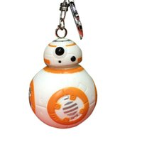 Wholesale Star Wars BB8 Keychains Key Ring Necklace Zinc Alloy Material Cartoon Movie Keys Chains Rings