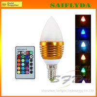 Wholesale cheap Christmas tip lamp Color Change RGB W LED Light Bulb Lamp Led candle light bulb w e14 small screw with Remote Control
