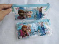 Wholesale Frozen Kids learning items elsa anna stationery set for Students children Pencil cases Bags Ruler Pencils notebook sharpener Eraser