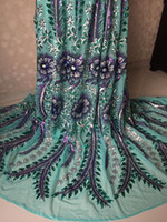 Wholesale Latest fashion teal green with flower pattern sequins French net lace fabric African tulle material for dress for dress UN15