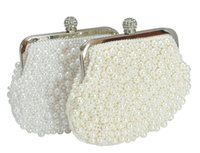 Wholesale Champagne Bridal Clutches Pearl Bags Mini Rhinestone Chain Evening Bags Luxury Pearl Beaded Wallet Bags Brand Designer Fashion Hand Bags