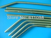 Wholesale 6 MM Stainless Steel Straw bend drinking straw beer and fruit juice straw with lines on body mn2