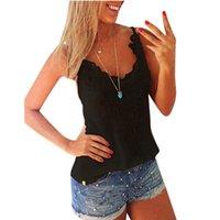 Cheap FG1509 New Fashion2015 Summer Plus Size S-5XL Women Tank Top V-Neck Lace Patchwork Slim Bodycon Women Casual Shirt blusa de renda S-5XL