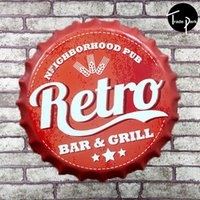 Wholesale 35 cm Round neighborhood pub retro bar grill Bottle cap Retro Tin Sign for the Pub Bar Garage
