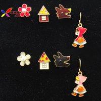 Maison stud Avis-nouvelle mode 2015 boucles d'oreilles belle petit chaperon rouge fille fleur maison loup boucle d'oreille boucle d'oreille Aretes de las mujeres