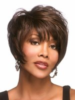 Wholesale Beautiful Shag style Synthetic African american wigs with bangs Straight hair Short Brown wigs for women SW0124