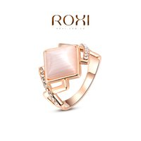 Cheap FG ROXI 2014 Chirstmas Gift Rose Gold Plated Romantic Rhombus Opal Ring Statement Rings Fashion Jewelry For Women Party Wedding