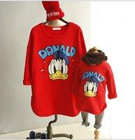 t-shirt dresses - Family Dressy Donald Duck Cotton Long Sleeve T shirts Tops Family Mother and Daughter Clothing Family Dress Alikes Party Red K2427